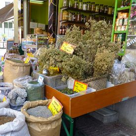 picture of piraeus  - Retail of herbs spices teas and Delicatessen in a stall of the port of Piraeus near Athens in Greece - JPG