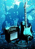 vetor de guitarra e ampli grunge