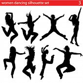 stock photo of exaltation  - high quality dancing women silhouette set - JPG