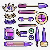 eye cosmetic icon set