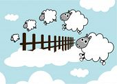 image of counting sheep  - sheep on the sky jumping fence - JPG