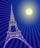 Vector illustration of Effel  tower in Paris during night