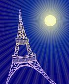 在晚期间在巴黎艾菲尔花园塔的矢量图