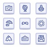 Travel web icons set 5, light violet glossy buttons