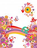 Summery hippie background with abstract colorful flowers, mushrooms, peace symbol and rainbow poster