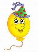 Color illustration of balloon with party cap.