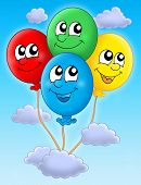 Color illustration of four colorful balloons.
