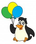 Penguin with balloons - vector illustration.