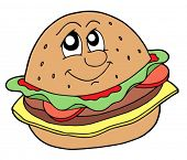 Hamburger with smiling face - vector illustration.