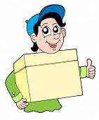 Man with box - vector illustration.