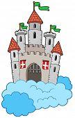 Medieval castle on clouds - vector illustration.