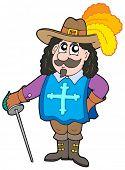 Cartoon musketeer on white background - vector illustration.