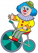 Cartoon clown riding bicycle - vector illustration.