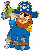 Pirata com luneta e papagaio - ilustração vetorial.