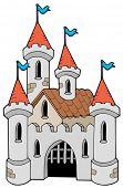 Old castle on white background - vector illustration.
