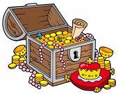 Big treasure chest - vector illustration.