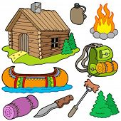 Collection of outdoor objects - vector illustration.