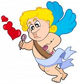 Cupid with bubble maker - vector illustration.
