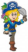 Menina bonita do pirata com papagaio - ilustração vetorial.