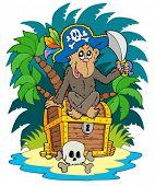Ilha do pirata com macaco - ilustração vetorial.