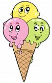 stock photo of ice cream cone  - Cute cartoon ice cream  - JPG