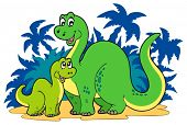 stock photo of apatosaurus  - Cartoon dinosaur family  - JPG