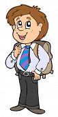 Boy in school uniform - vector illustration.