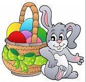 foto of easter bunnies  - Basket with Easter eggs and bunny  - JPG