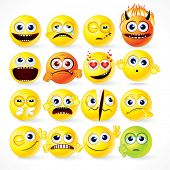 Yellow Smileys icon set - vector cartoon funky emoticons