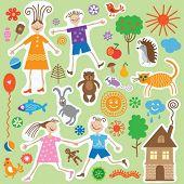childlike cartoon design elements