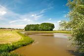 Landscape with river the Lek in Holland