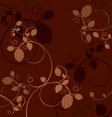 Stylized hop flowers composition on a dark red background.