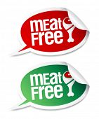 Meat free stickers set in form of speech bubbles.