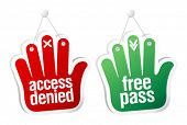 Access denied and free pass tablets set.