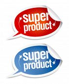Super product stickers in form of speech bubbles.