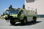 stock photo of humvee  - Humvee Firetruck Yellow Long Beach Fire Department - JPG