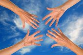Hands Reaching for Help and SUpport