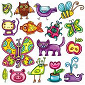 Flora and fauna theme. Cartoon vector set of colorful icons of animals, birds and plants. Doodle col