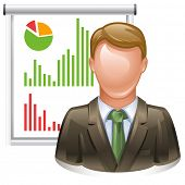 presentation icon - whiteboard with reports and presenter