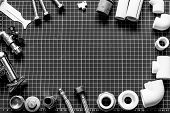 Set Plumbing And Tools On A Black And White Background. poster