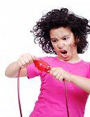 girl getting electrocuted