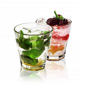Two Cocktails Isolated on White Background