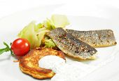Smoked Fish Fillet with Cabbage Salad and Thick Pancake. Isolated on White Background