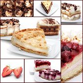 Cakes with Chocolate and Berries. Dessert Collage