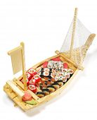 Japanese Cuisine - Wooden Ship with Various Type of Sushi