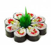 Maki Sushi made of Cucumber, Prawn (ebi), Avocado, Salad Leaf and Tobiko (flying fish roe) inside. I