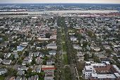 image of katrina  - Aerial view of rooftops and the Mississippi River about one year after Hurricane Katrina - JPG