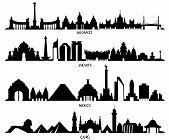 Постер, плакат: Skyline With Historic Architecture Mexico Budapest Jakarta And Cairo