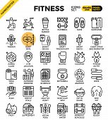 Fitness Line Icon Set poster