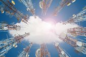 Mobile Phone Communication Antenna Tower With Cloud On Center Blue Sky. poster